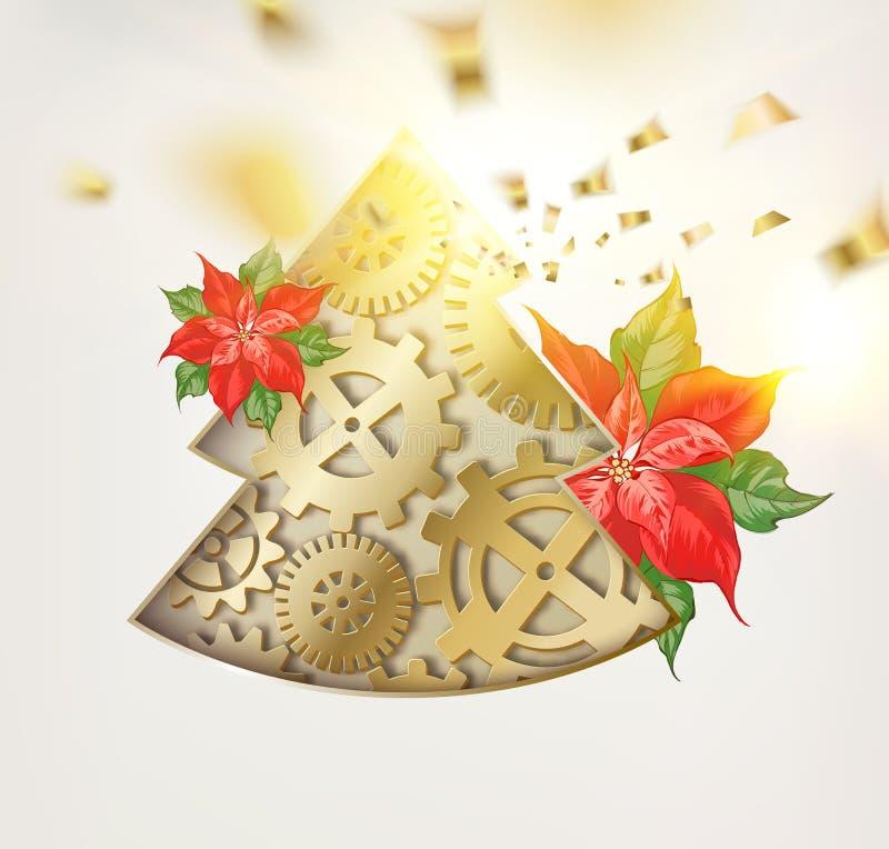 Abete di natale di fantasia degli ingranaggi con il fiore rosso della stella di Natale e le cadute dorate dei coriandoli isolati  illustrazione di stock