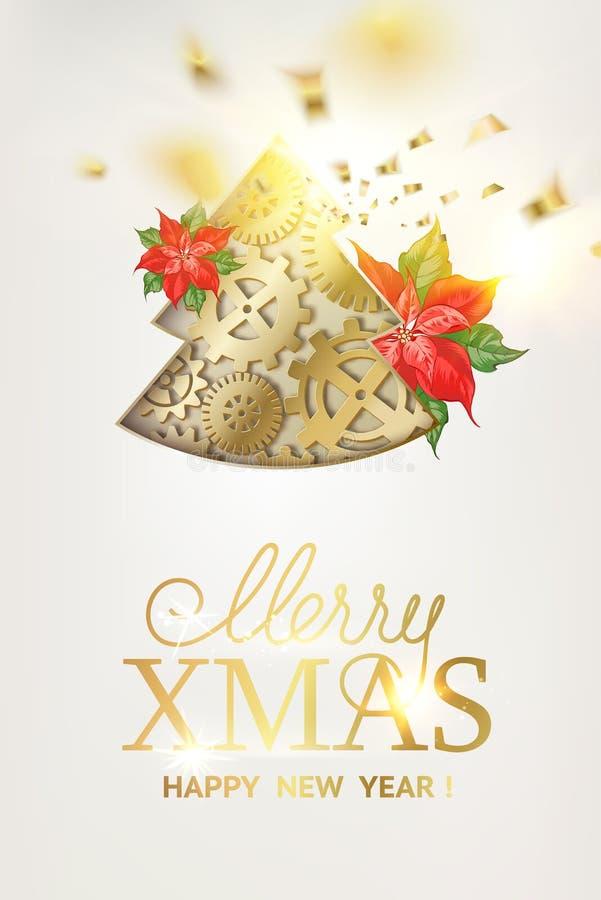 Abete di natale di fantasia degli ingranaggi con il fiore rosso della stella di Natale e le cadute dorate dei coriandoli isolati  illustrazione vettoriale