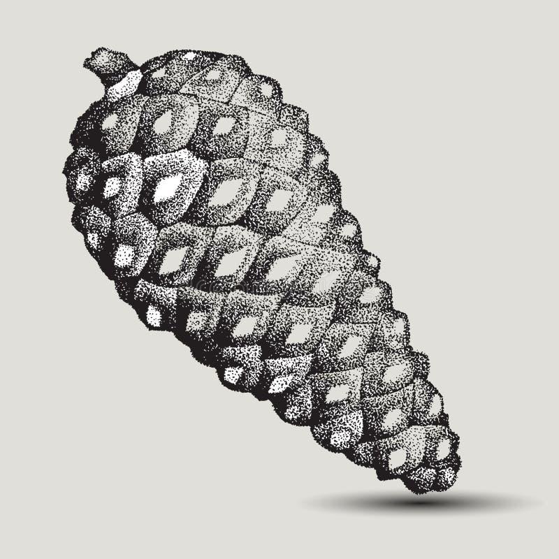 Abete rosso della pigna a mano disegno illustrazione di for I semi della pigna