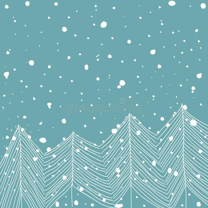 Abeti bianchi di scarabocchio disegnato a mano in Forest Snowfall Baby Blue Background Estratto Cartolina d'auguri di Natale del  illustrazione di stock