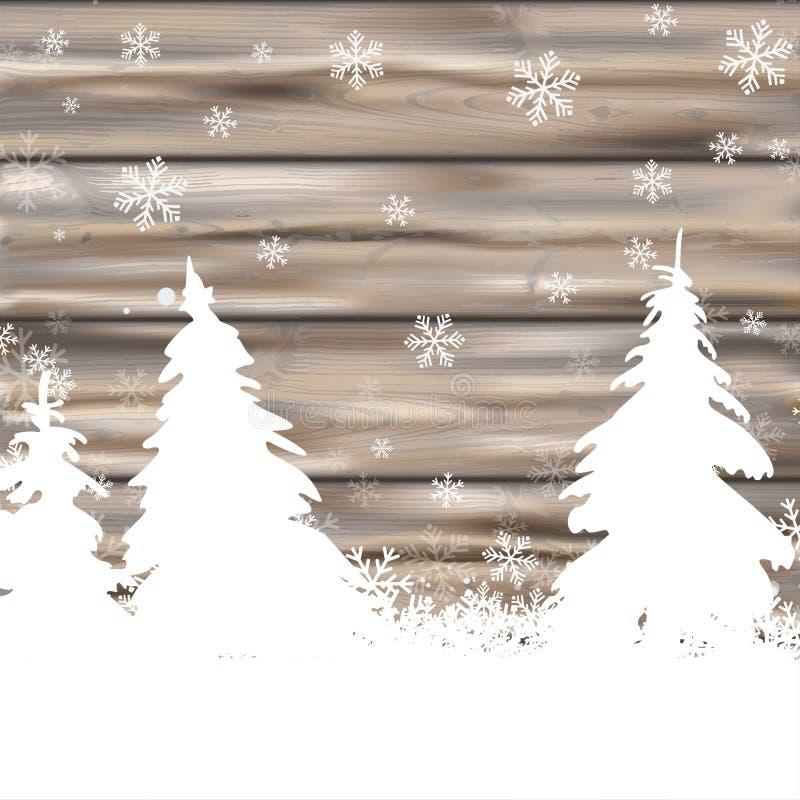 Abeti di legno indossati inverno della neve di Natale illustrazione di stock
