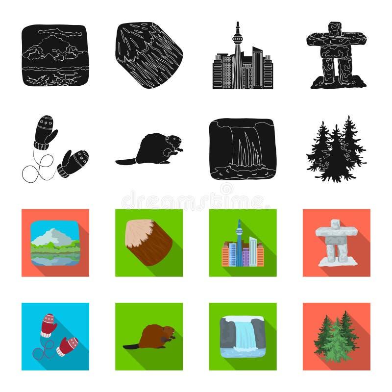 Abeto canadiense, castor y otros símbolos de Canadá Iconos determinados en negro, acción de la colección de Canadá del símbolo de stock de ilustración