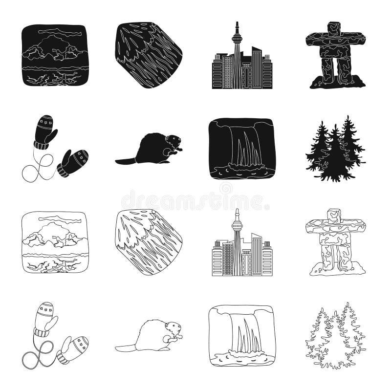 Abeto canadiense, castor y otros símbolos de Canadá Iconos determinados en negro, acción de la colección de Canadá del símbolo de ilustración del vector