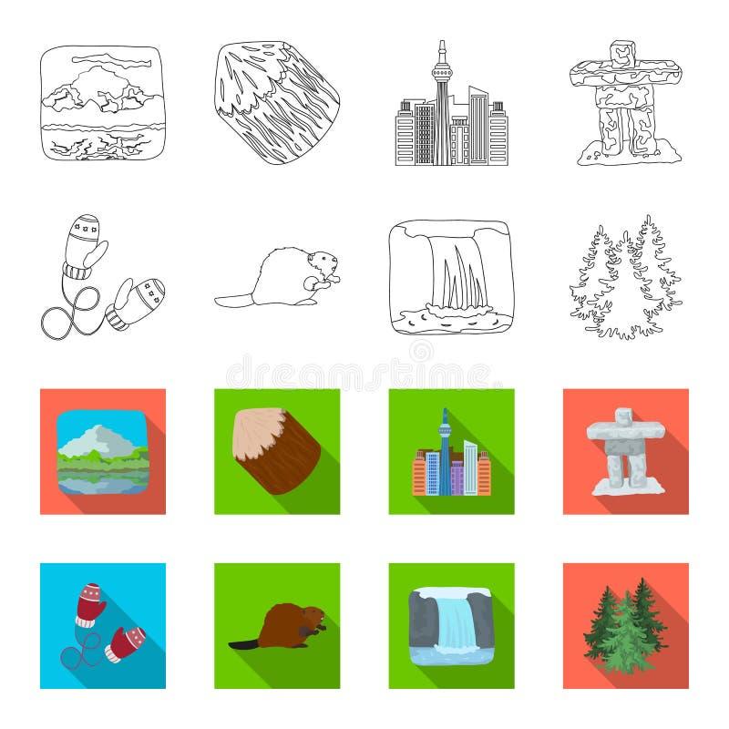 Abeto canadiense, castor y otros símbolos de Canadá Iconos determinados de la colección de Canadá en el esquema, acción del símbo ilustración del vector