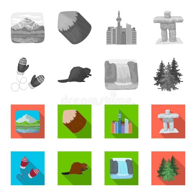 Abeto canadiense, castor y otros símbolos de Canadá Iconos determinados de la colección de Canadá en símbolo monocromático, plano libre illustration