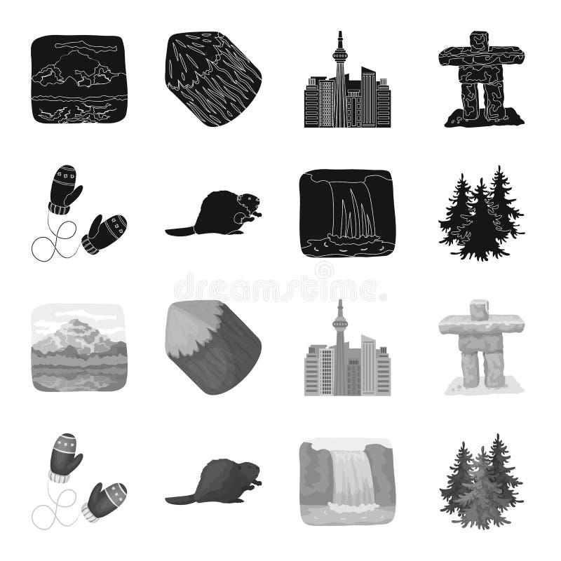 Abeto canadiense, castor y otros símbolos de Canadá Iconos determinados de la colección de Canadá en símbolo negro, monocromático libre illustration