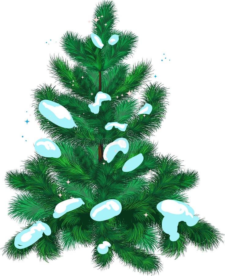 abeto con nieve stock de ilustración