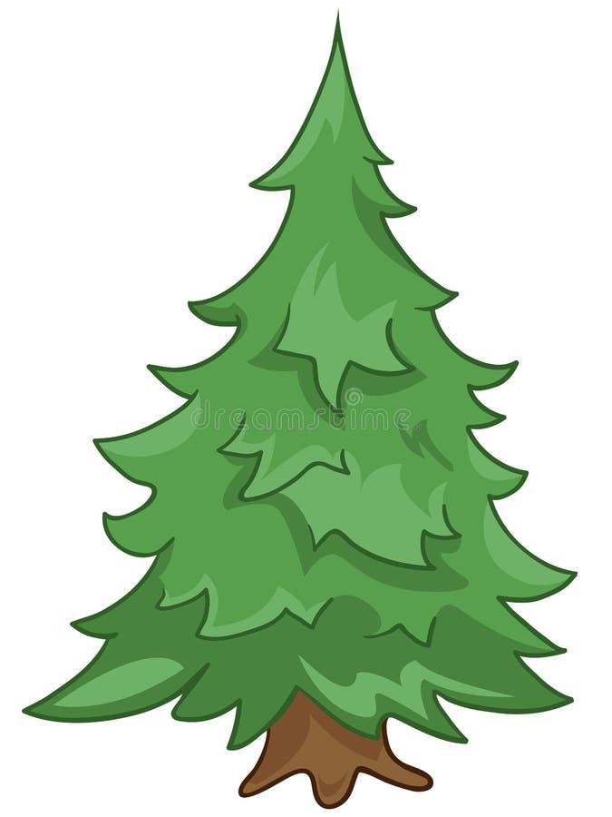 Abeto da árvore da natureza dos desenhos animados ilustração royalty free