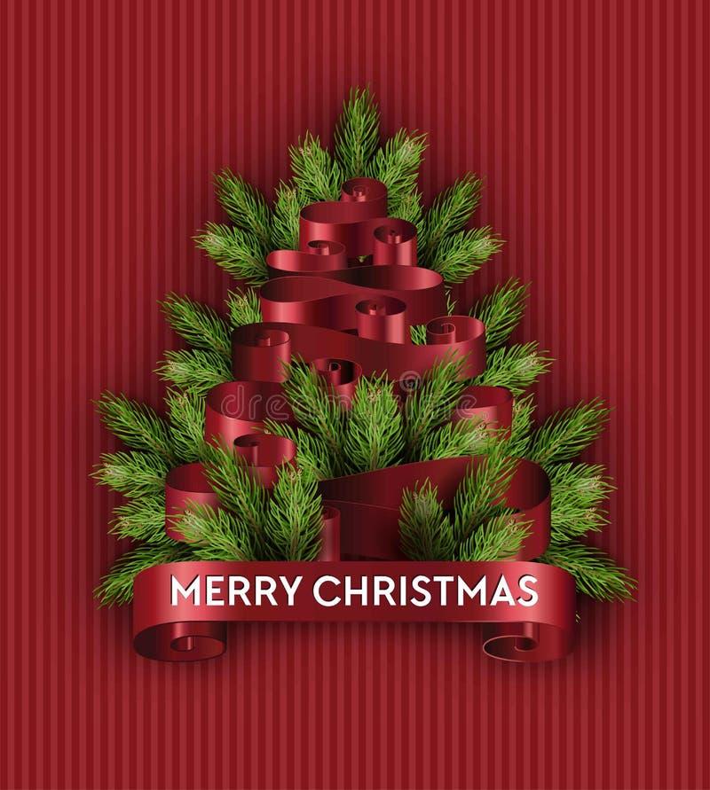 Abeto de imitação do ramo do pinho dos feriados da árvore do Feliz Natal ilustração stock