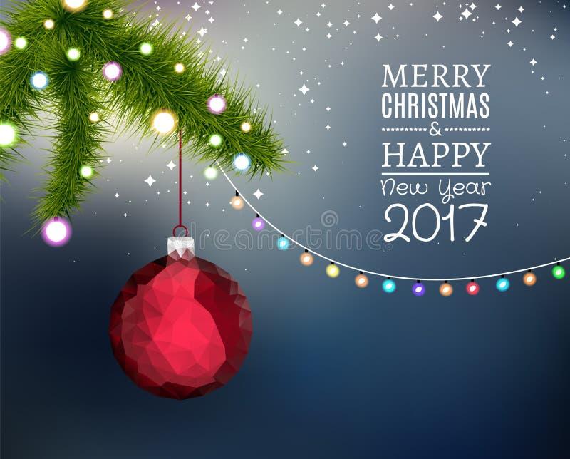 Abeto de la rama de la Feliz Navidad con la bola de la Navidad de la ejecución stock de ilustración