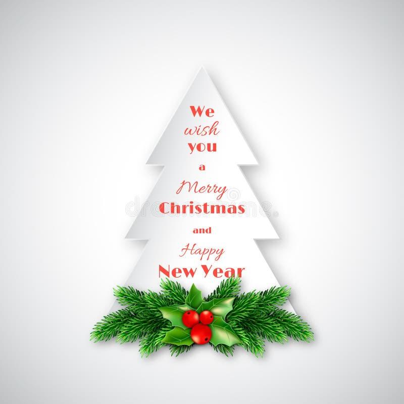 Abeto de papel con las ramas decorativas del abeto de la Navidad y acebo stock de ilustración