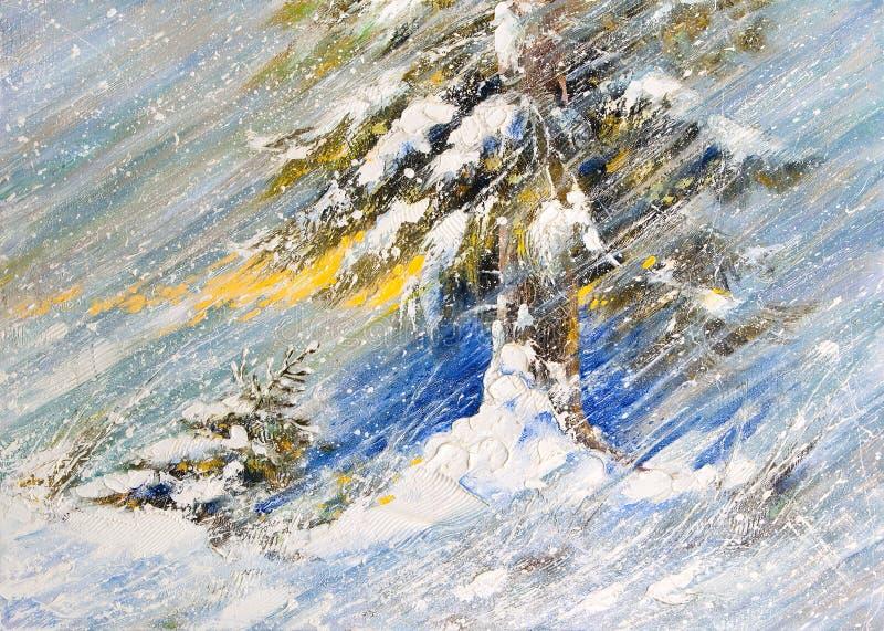 Abeto en nieve stock de ilustración