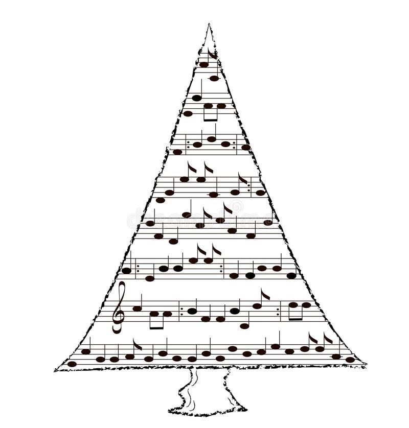 Abeto vermelho da árvore, tema da música ilustração do vetor