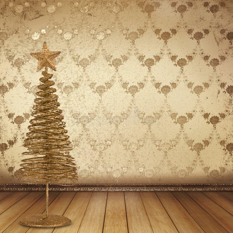 Abeto vermelho dourado do Natal no quarto velho ilustração royalty free
