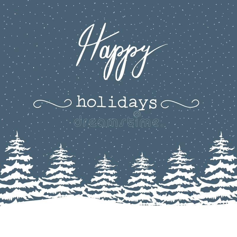 Abetos blancos de la Navidad del ejemplo a pulso del vector en Forest Snowfall Happy Holidays Lettering Fondo de los azules marin stock de ilustración