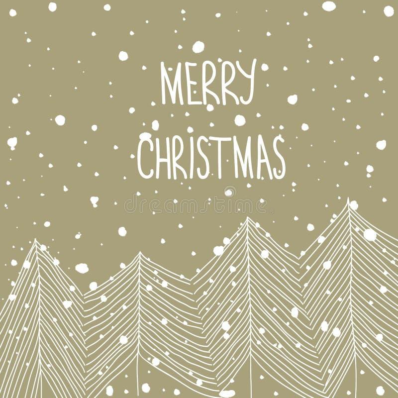 Abetos blancos dibujados mano del garabato en las letras de Forest Snowfall Merry Christmas Hand Fondo beige del papel del arte E ilustración del vector