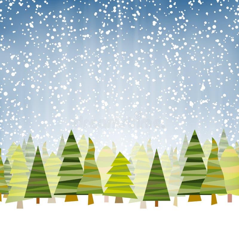 abetos con el fondo azul de la caída de la nieve libre illustration