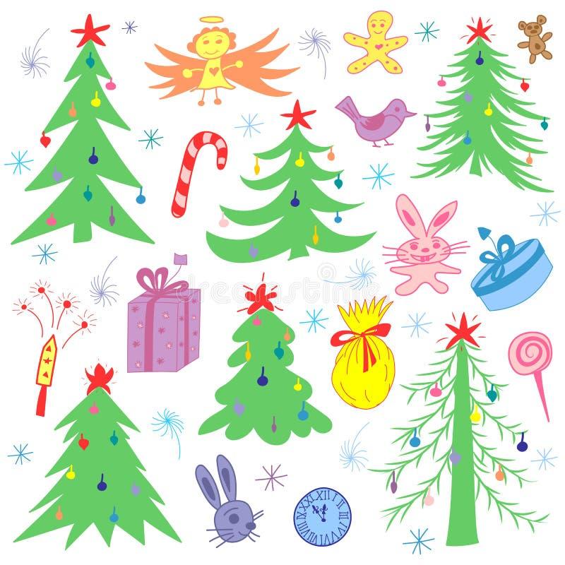 Abetos divertidos dibujados mano colorida del garabato y símbolos de la Navidad Dibujos de los niños de regalos, de juguetes, del stock de ilustración