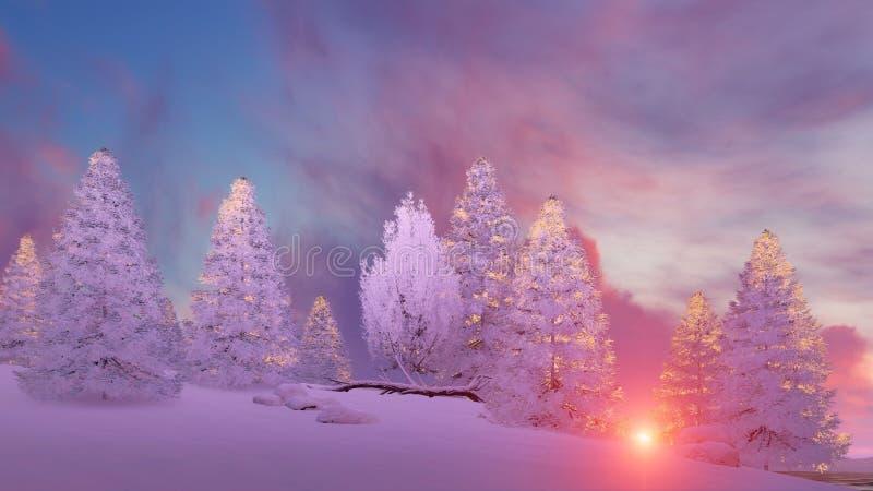 Abetos nevados debajo del cielo escénico de la puesta del sol ilustración del vector
