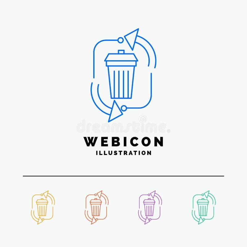 Abfall, Beseitigung, Abfall, Management, bereiten das 5 Farblinie-Netz-Ikonen-die Schablone auf, die auf Weiß lokalisiert wird Au vektor abbildung