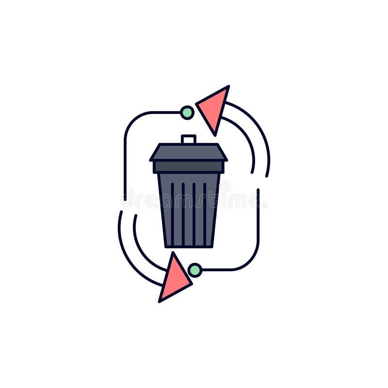 Abfall, Beseitigung, Abfall, Management, bereiten flachen Farbikonen-Vektor auf vektor abbildung