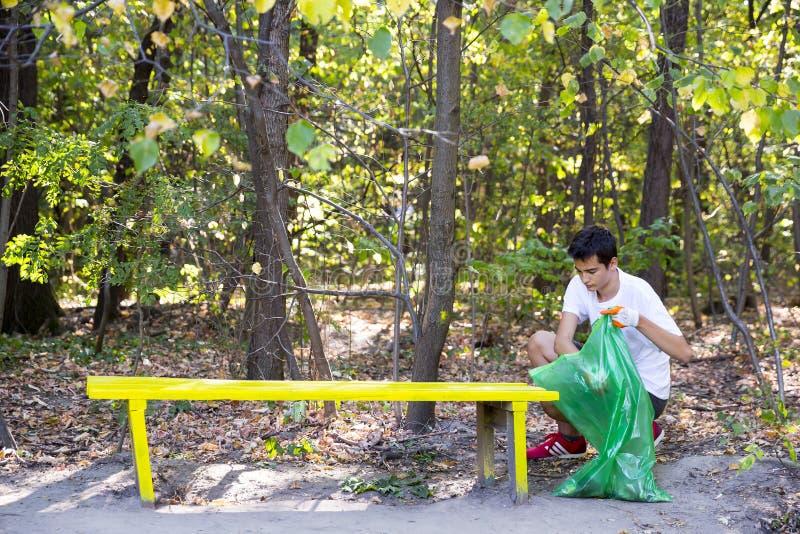 Abfall im Wald aufheben lizenzfreies stockbild