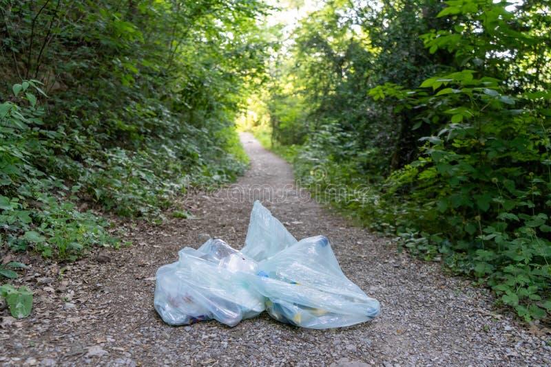 Abfall im Wald stockbilder