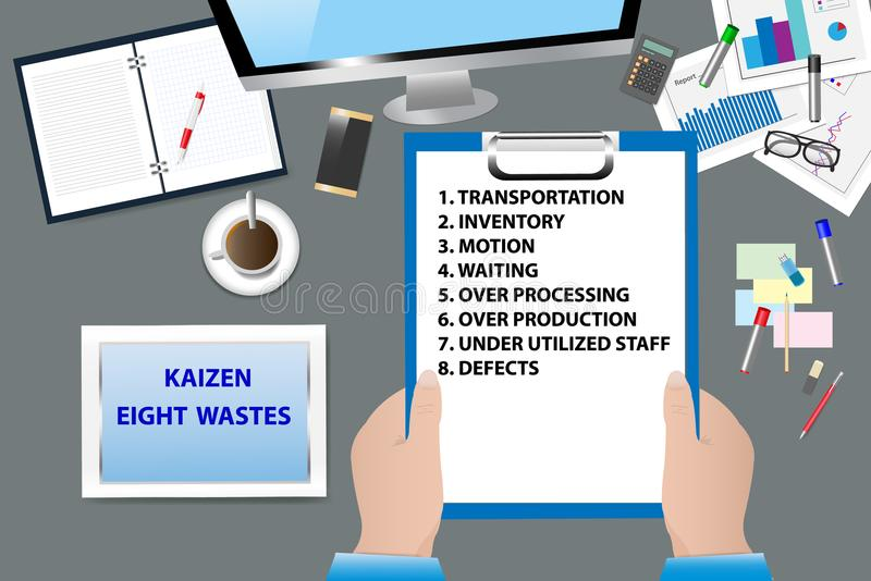 Abfall-Konzeptvektor Kaizen acht vektor abbildung