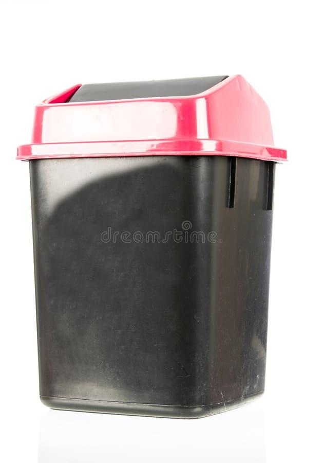 Abfall lokalisierter schmutziger alter schwarzer Behälter lokalisiert lizenzfreies stockbild
