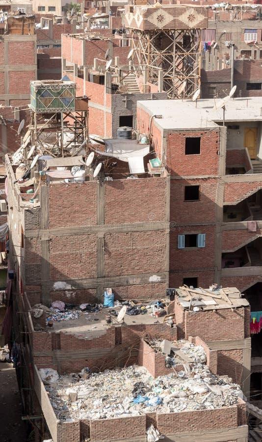 Abfall-Stadt-Dachspitzen Zabbaleen-Regelung Manshiyat Naser Cairo Egypt stockbild