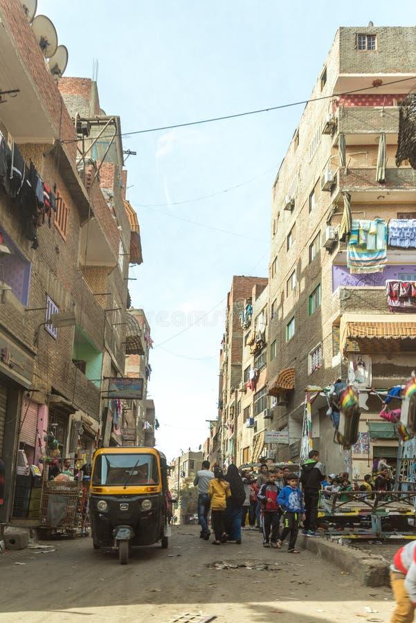 Abfall-Stadt-Straße Zabbaleen-Regelung Manshiyat Naser Cairo Egypt stockfotografie