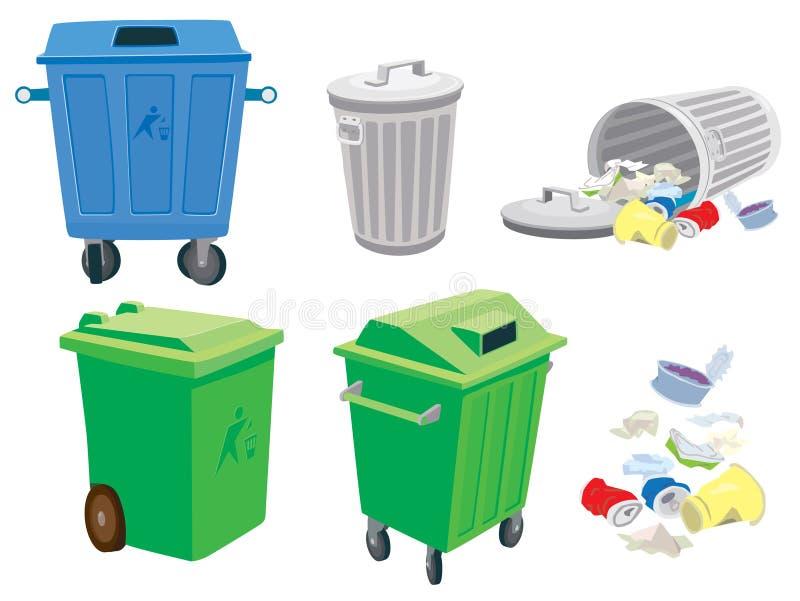 Abfall- und Abfalldosen und ein Korb stock abbildung