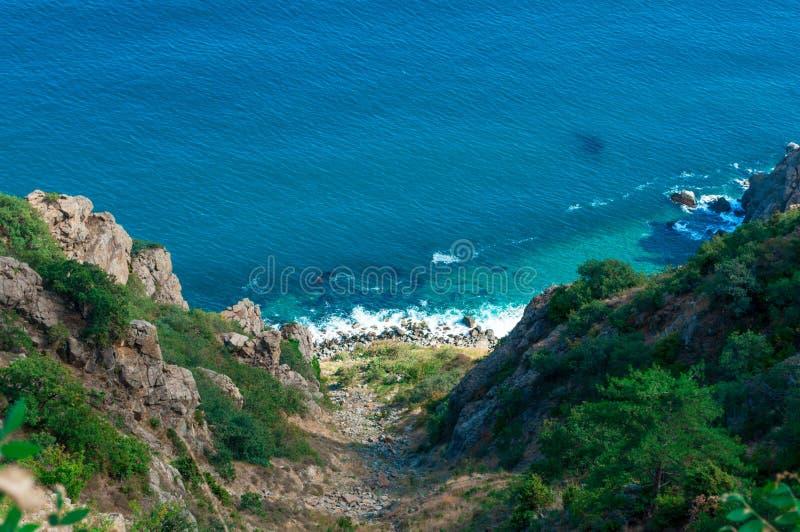 Abfall zum Schwarzen Meer, Kap Fiolent Krim lizenzfreie stockfotos