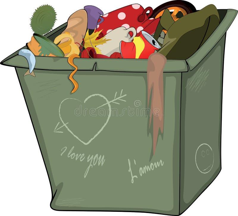 Abfallbehälter. Karikatur vektor abbildung