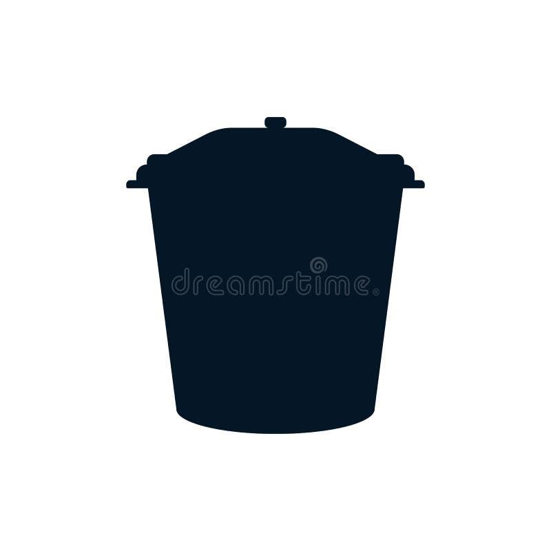 Abfalleimer blaue Farbe in Form einer F?lle auf einem wei?en lokalisierten Hintergrund lizenzfreie abbildung