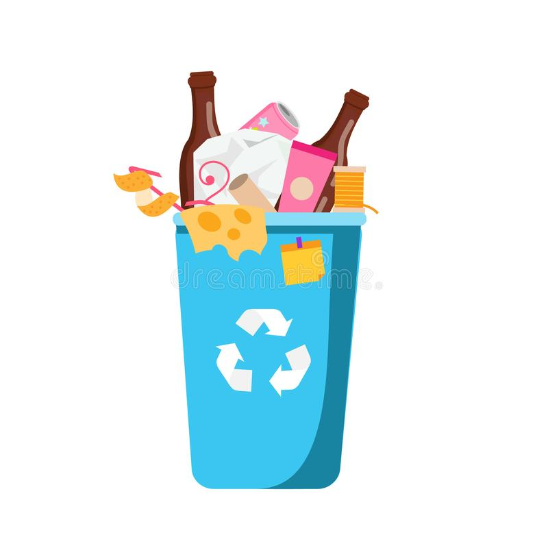 Abfalleimer Blauer Mülleimer mit unterschiedlichem Abfall nach innen Plastik, Papier, Flaschen und andere Haushaltsabfälle stock abbildung