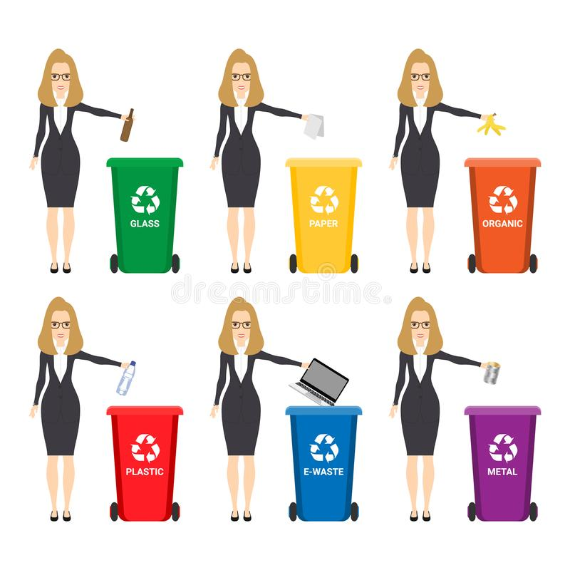 Abfalleimer, Mülleimer in der flachen Designart Ökologie, Umweltsymbol, Ikone Katze entweicht auf ein Dach vom Ausländer stock abbildung