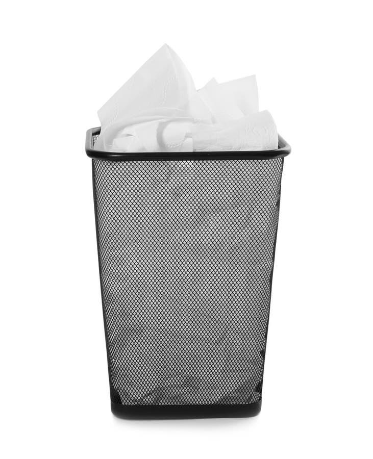 Abfalleimer mit benutztem Toilettenpapier lizenzfreies stockbild