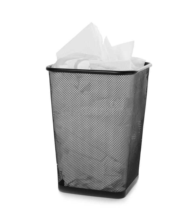 Abfalleimer mit benutztem Toilettenpapier lizenzfreie stockfotos