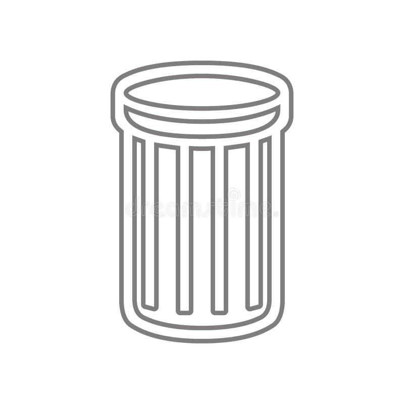 Abfalleimerikone Element des Netzes f?r bewegliches Konzept und Netz Appsikone Entwurf, d?nne Linie Ikone f?r Websiteentwurf und  stock abbildung