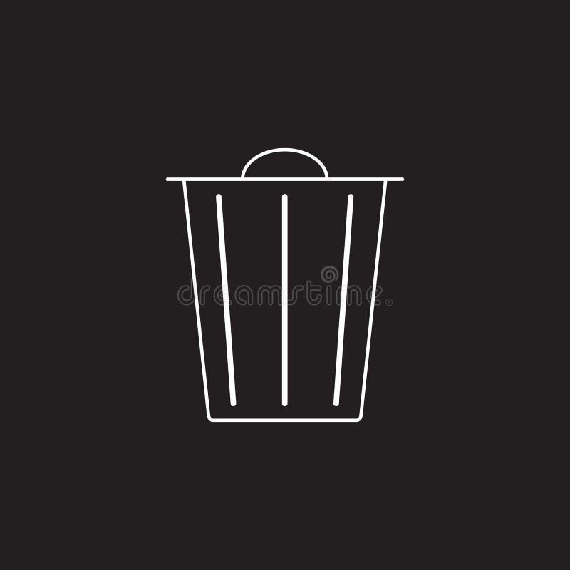 Abfalleimerlinie Ikone, Löschungsentwurfsvektor-Logoillustration, Li stock abbildung