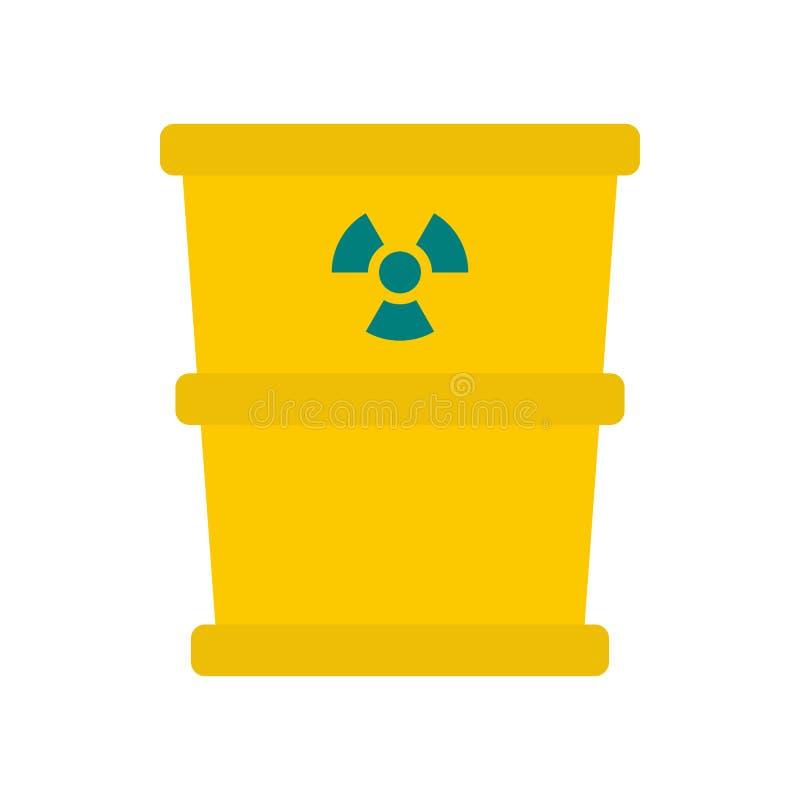 Abfallfaß mit radioation Zeichenikone, flache Art stock abbildung