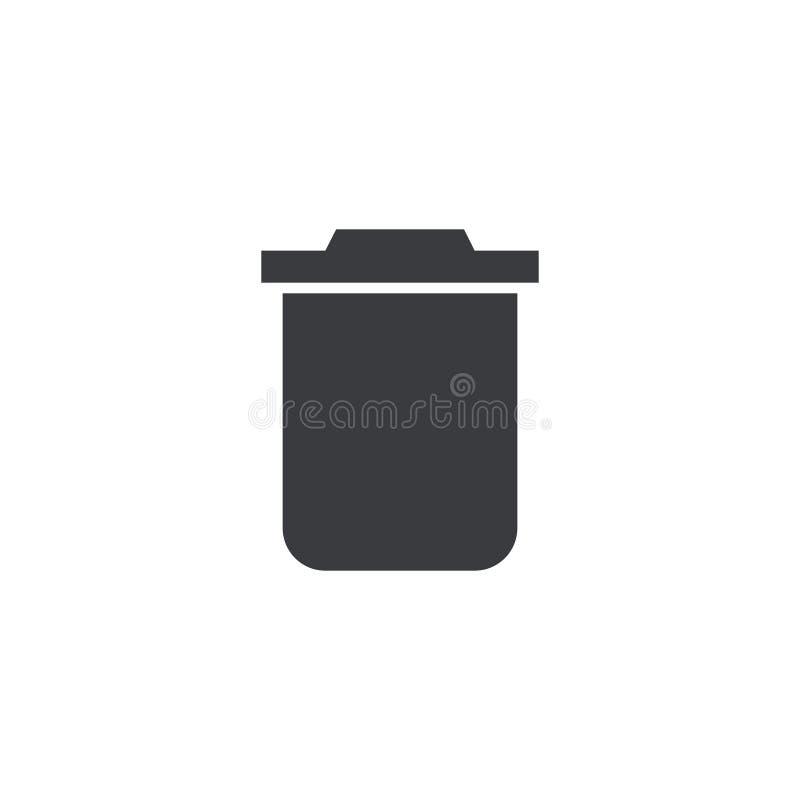 Abfallikone Vektorformabfalleimer Mülleimersymbol Schnittstellenknopf Element für beweglichen App oder Website des Entwurfs lizenzfreie abbildung