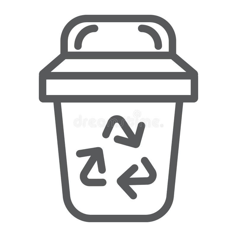 Abfalllinie Ikone, Ökologie und Abfall, Behälterzeichen, Vektorgrafik, ein lineares Muster auf einem weißen Hintergrund lizenzfreie abbildung