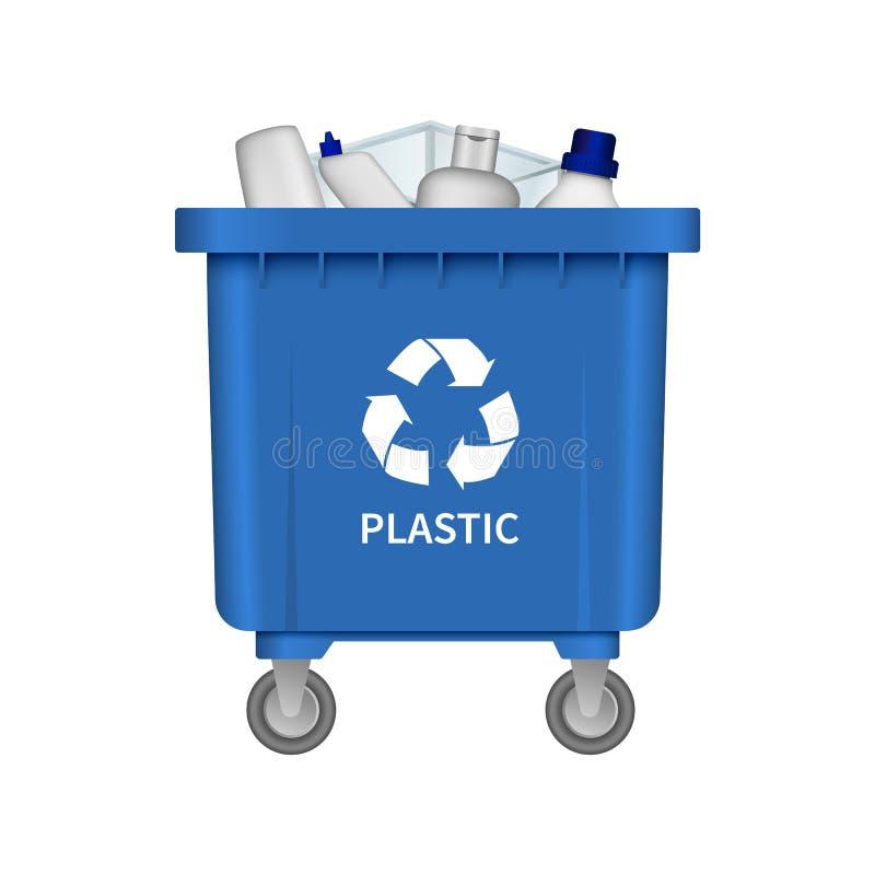 Abfallplastikbehältermodell, realistische Art stock abbildung