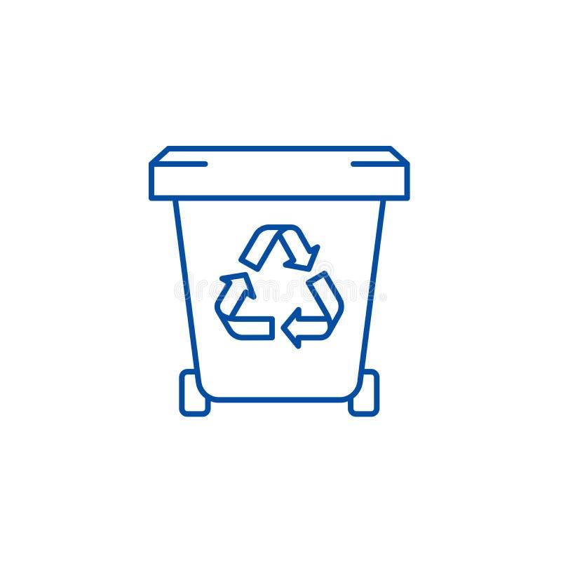 Abfallspeicherlinie Ikonenkonzept Flaches Vektorsymbol des Abfallspeichers, Zeichen, Entwurfsillustration lizenzfreie abbildung