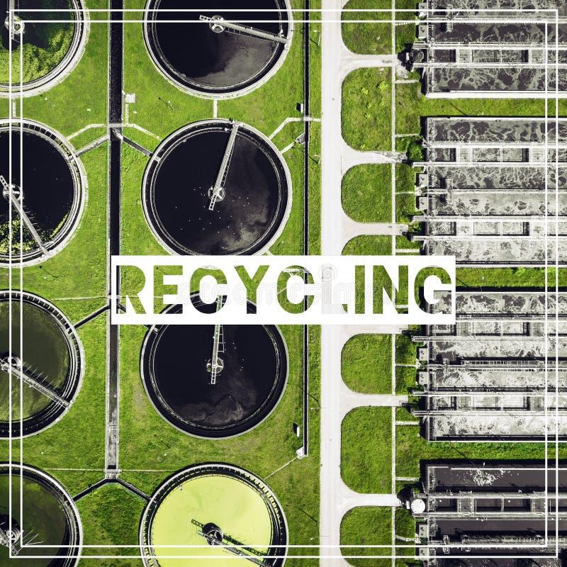 Abfallwirtschaft wiederverwertung Vogelperspektive des Abwasseraufbereitungsplanes lizenzfreie stockfotos