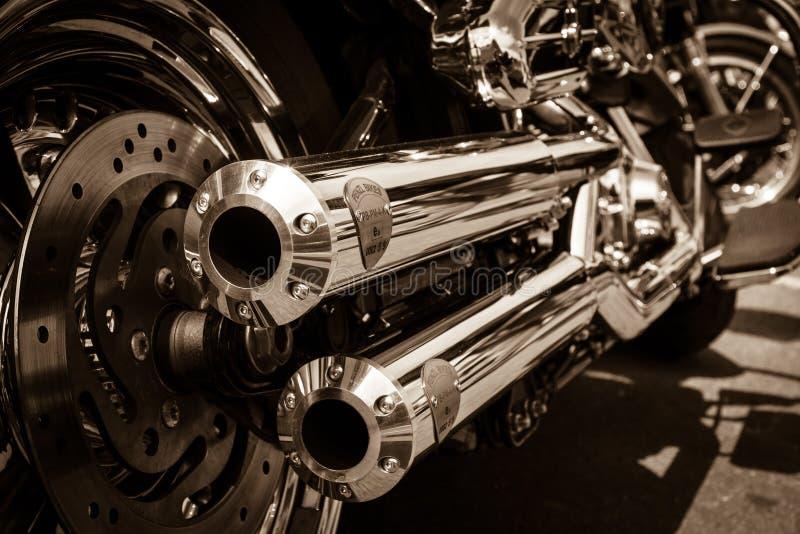 Abgasleitungen des Motorrades Harley Davidson Softail stockfoto
