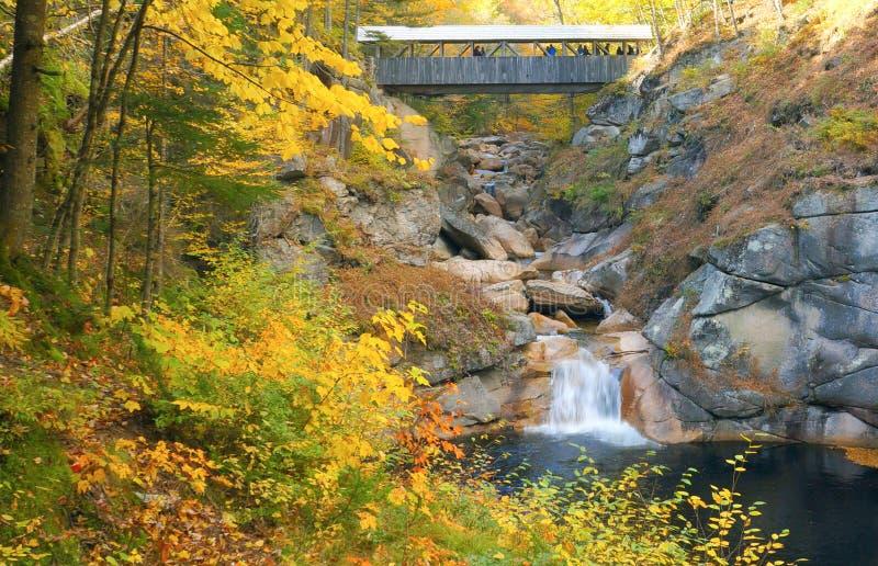 Abgedeckte Brücke im Herbst stockbilder