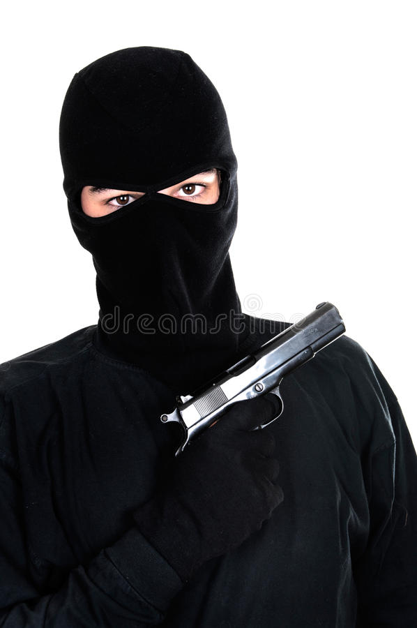 Abgedeckte Mannziele mit Gewehr stockfotos